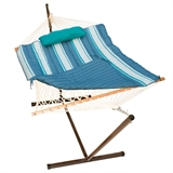 12' Hammock with Stand - Teal and Grey Stripe