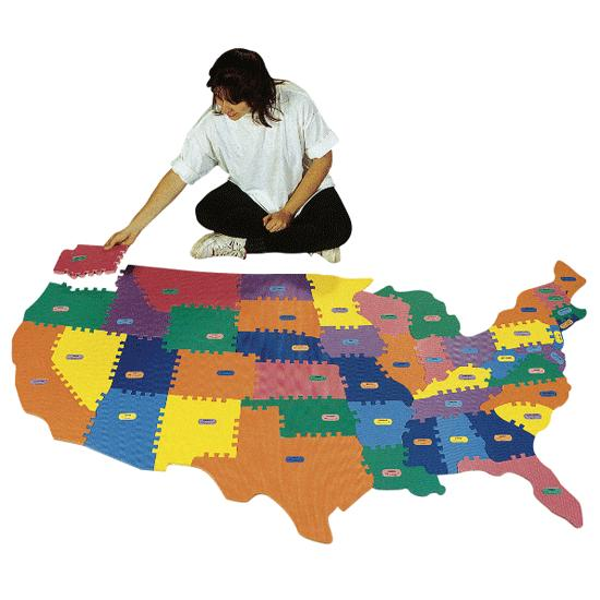 Usa Map Floor Puzzle Foam: Wonderfoam Usa Map Puzzle At Infoasik.co